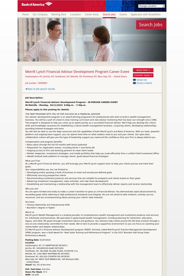 Merrill Lynch Financial Advisor Development Program Career Event Job