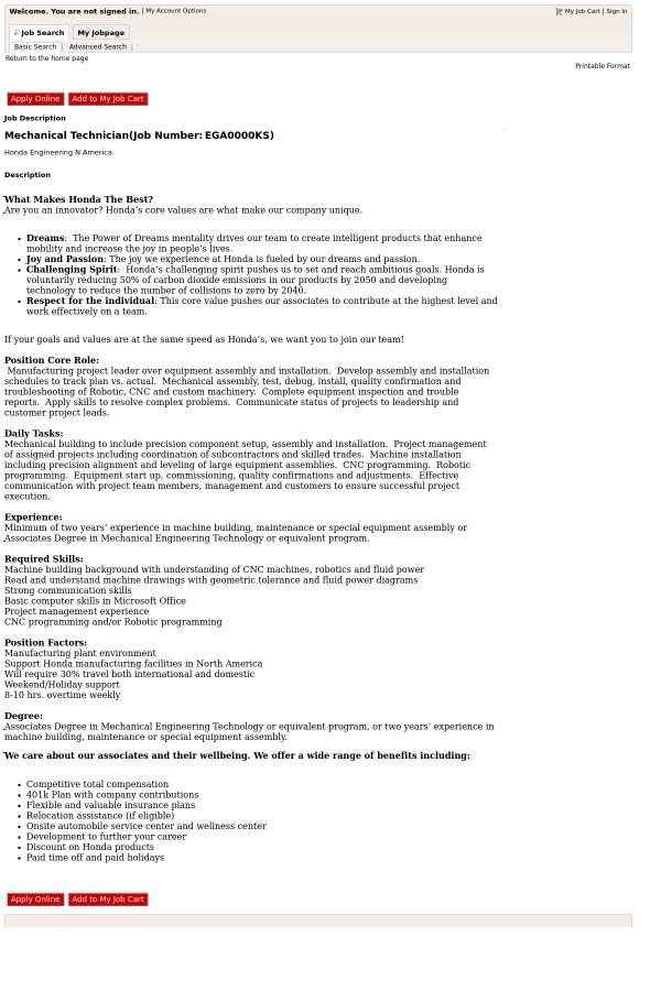 mechanical technician job description