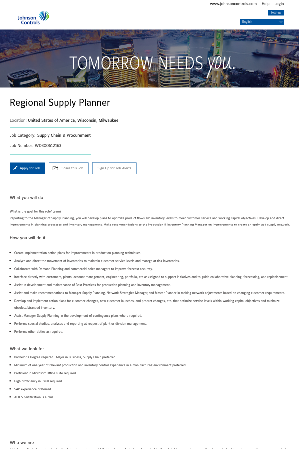Regional Supply Planner job at Johnson Controls in Milwaukee
