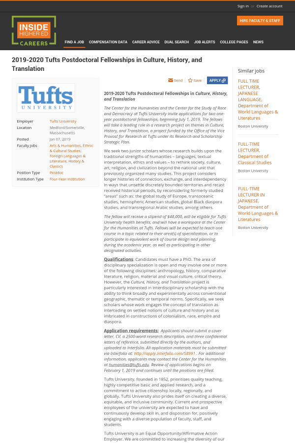 Tufts Cover Letter Postdoctoral Fellowships In Culture History And Translation