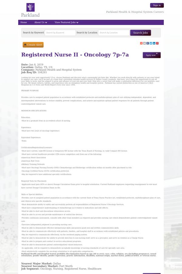 Registered Nurse Ii Oncology 7p 7a Job At Parkland Health