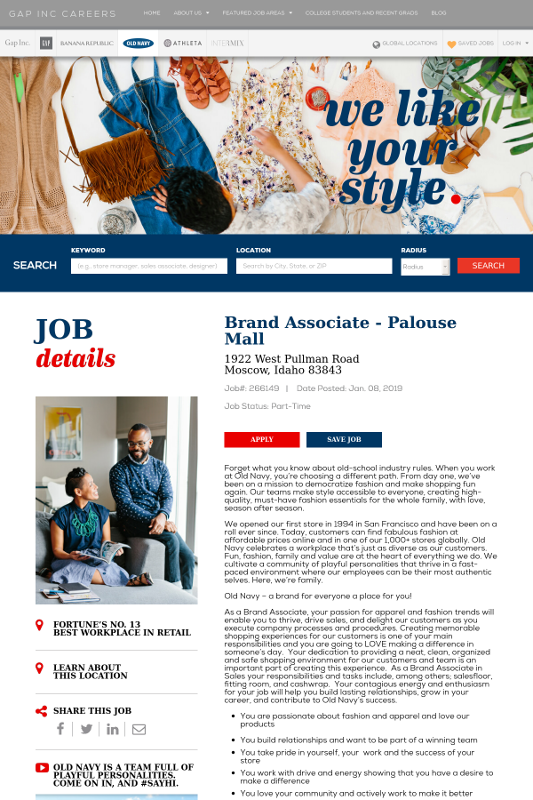 Brand Associate Job At The Gap Inc In Moscow Id 16043527