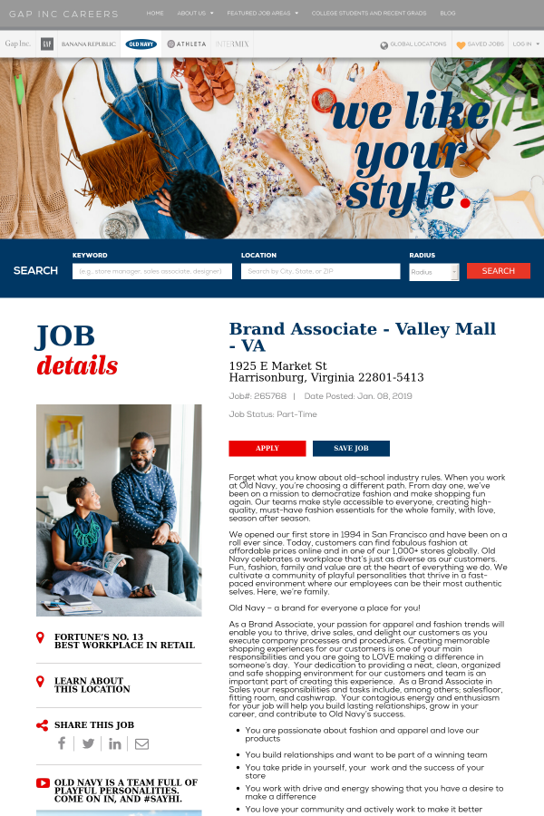 Brand Associate Valley Mall Job At The Gap Inc In Harrisonburg