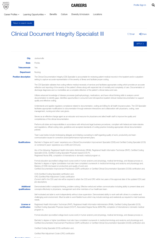 Clinical Document Integrity Specialist Iii Job At Mayo Clinic In