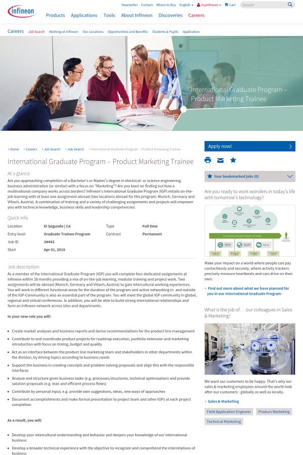International Graduate Program - Product Marketing Trainee
