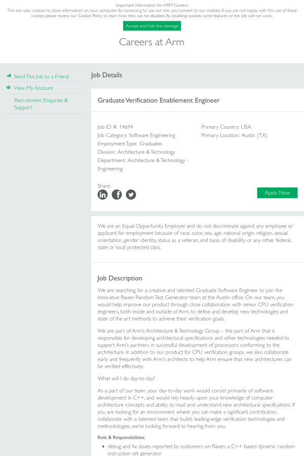 Graduate Verification Enablement Engineer job at ARM in Austin, TX