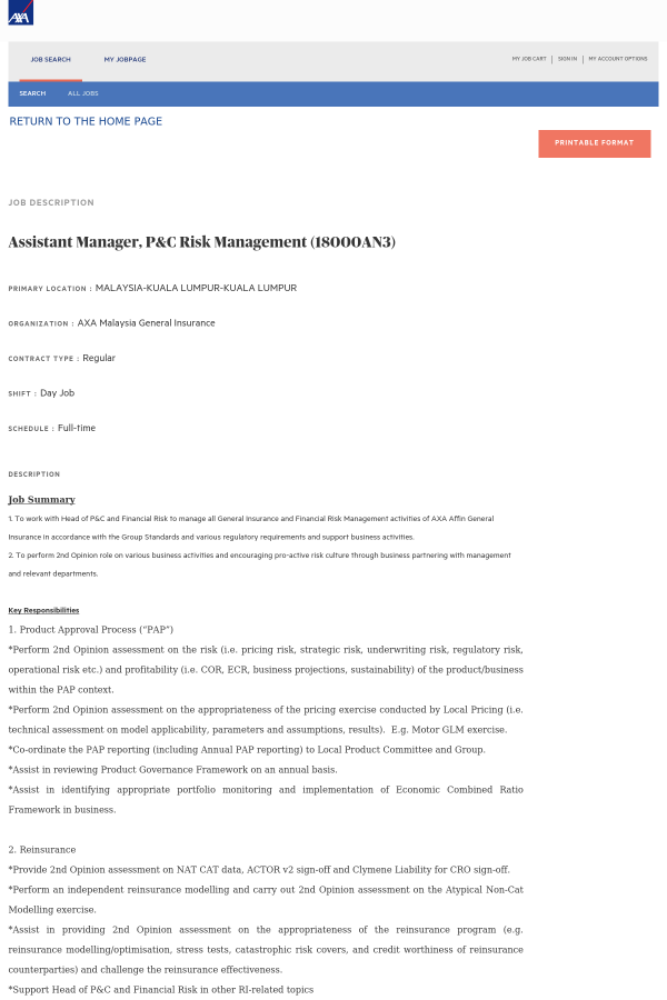 Assistant Manager, P&C Risk Management job at AXA in Kuala