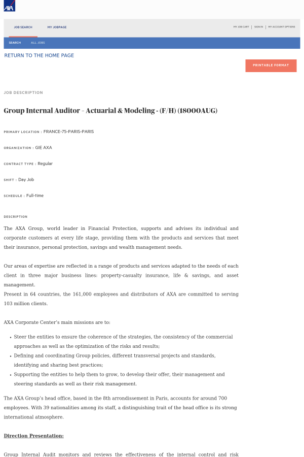 Group Internal Auditor - Actuarial & Modeling job at AXA in