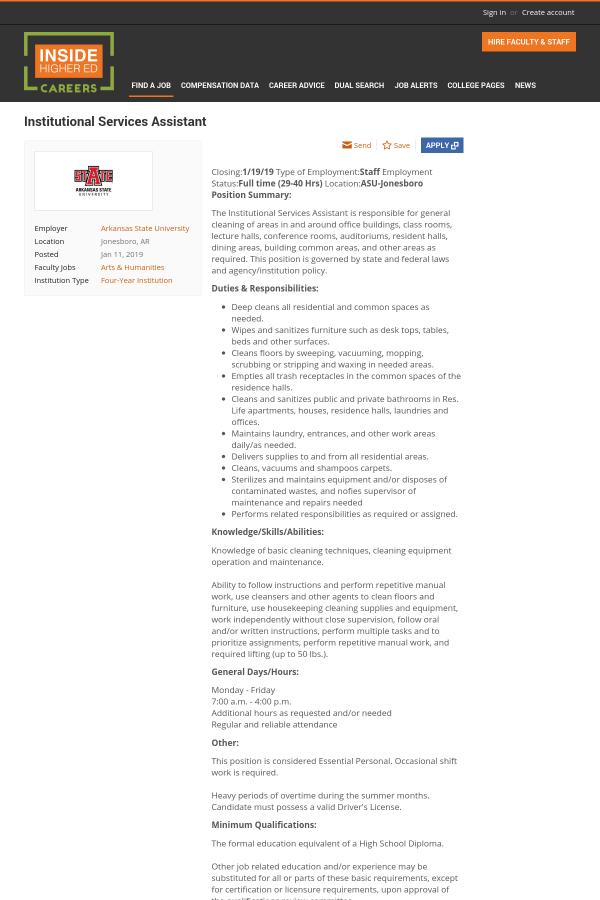Institutional Services Assistant Job At Arkansas State University In