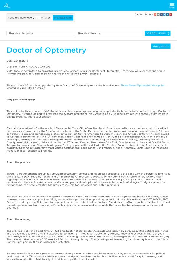 Doctor of Optometry job at VSP Global in Yuba City, CA - 16084834