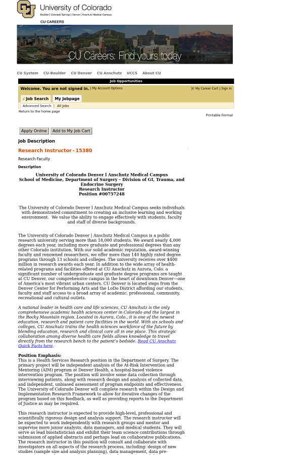 Research Instructor job at University of Colorado in Aurora