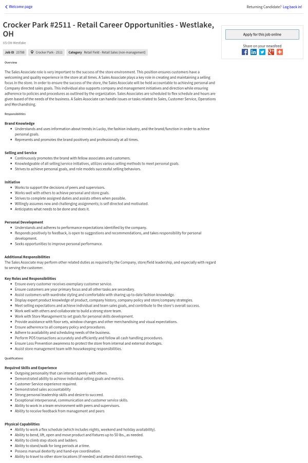 Crocker Park Retail Career Opportunities Westlake Oh Job At