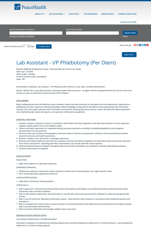 Lab Assistant I P Phlebotomy Job At Peacehealth In Springfield