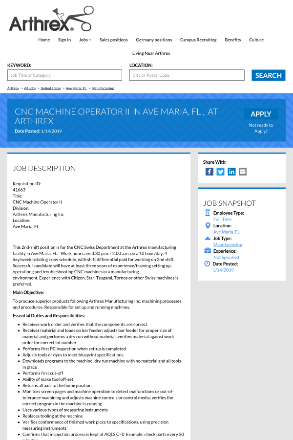 Cnc Machine Operator Ii Job At Arthrex In Ave Maria Fl 16118481
