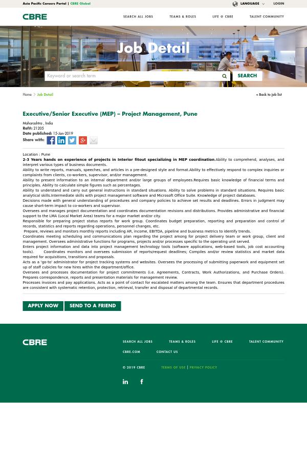 Executive / Senior Executive (MEP) - Project Management