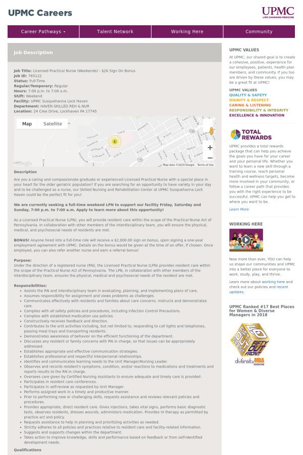 Licensed Practical Nurse Weekends 2k Sign On Bonus Job At Upmc