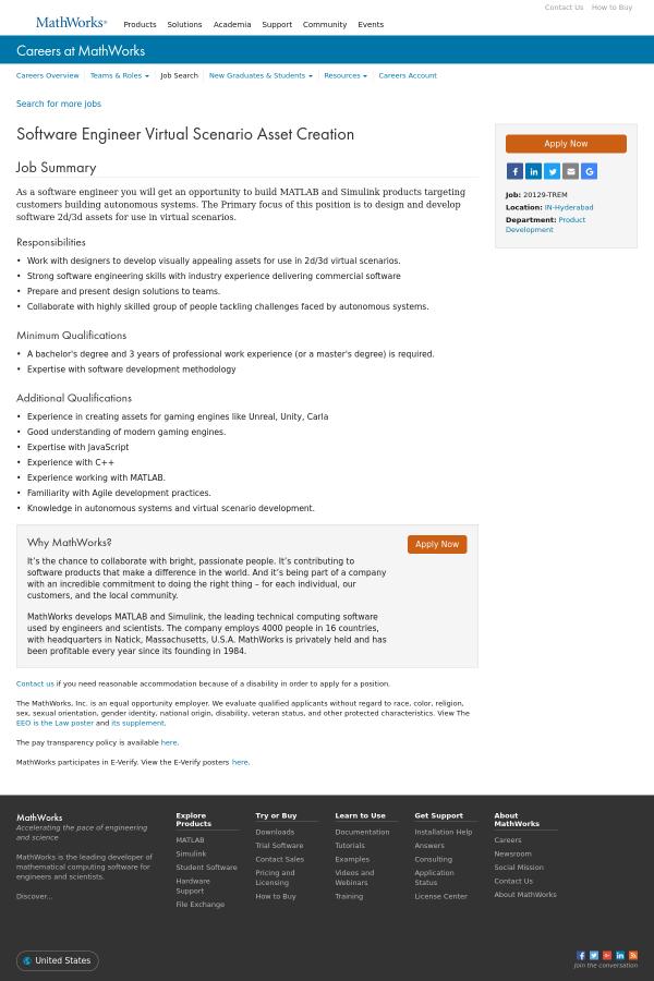 Software Engineer Virtual Scenario Asset Creation job at MathWorks