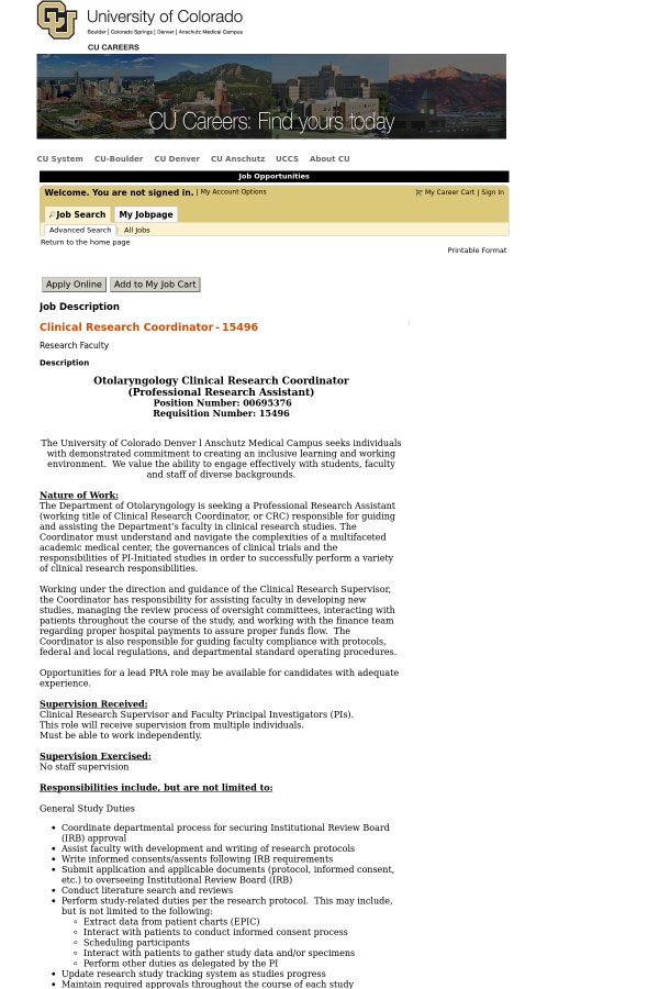 Clinical Research Coordinator job at University of Colorado