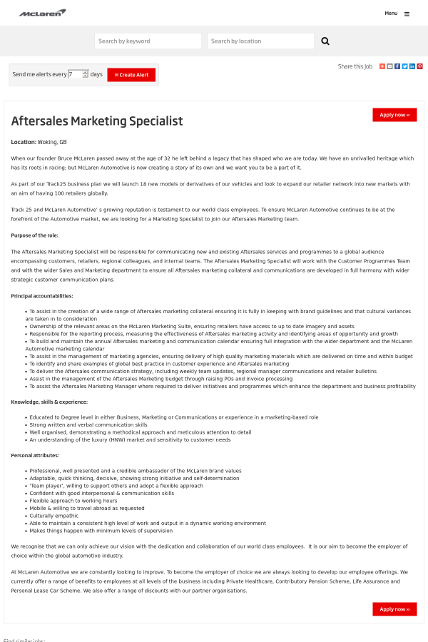 aftersales marketing specialist job at mclaren in woking, united