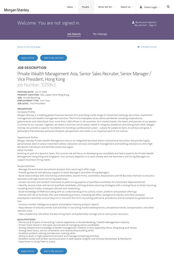 Private Wealth Management Asia, Senior Sales Recruiter, Senior