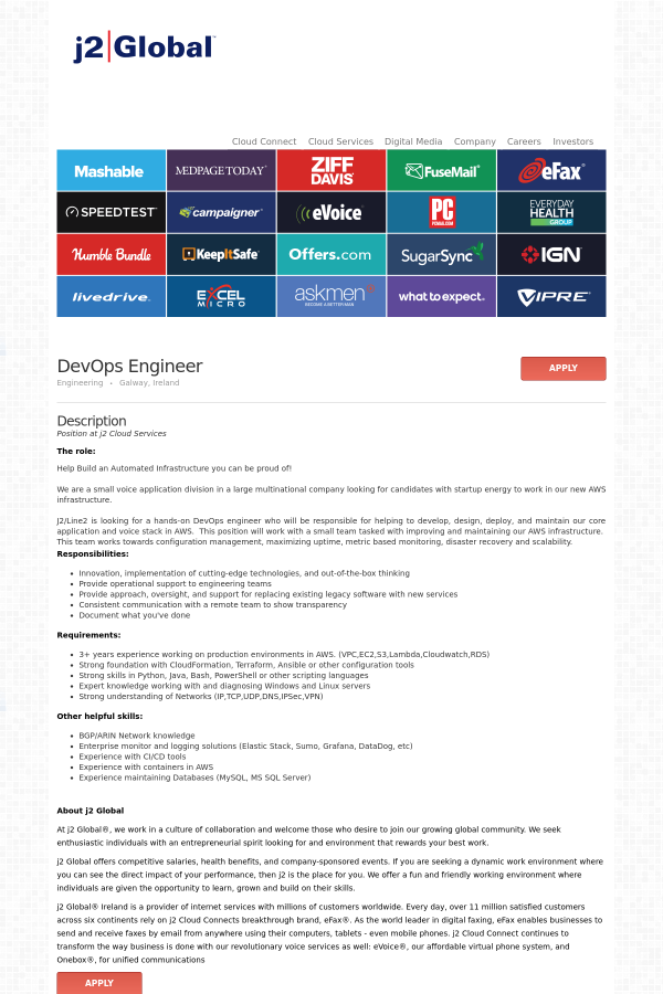 Devops Engineer Job At J2 Global In Gaillimh Ireland 16179671