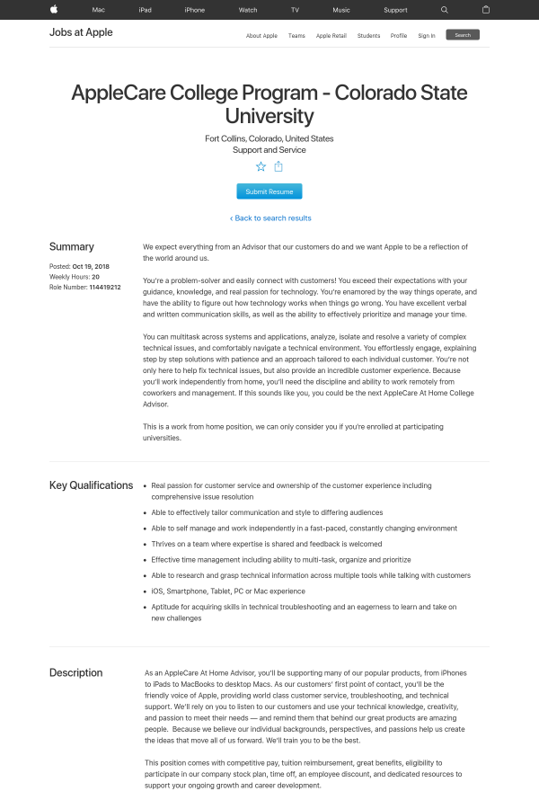 Colorado State University job at Apple in Fort Collins, CO