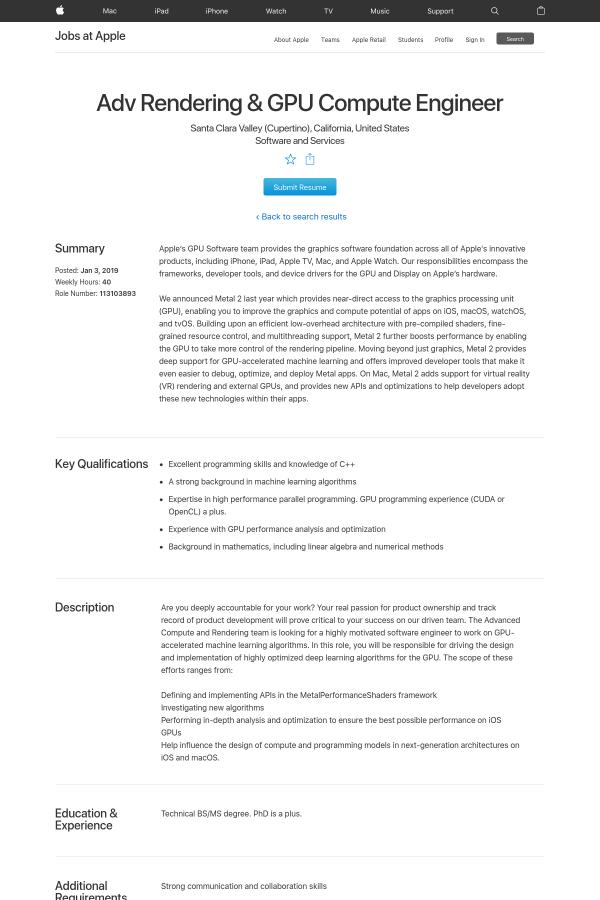 Advanced Rendering & GPU Compute Engineer job at Apple in