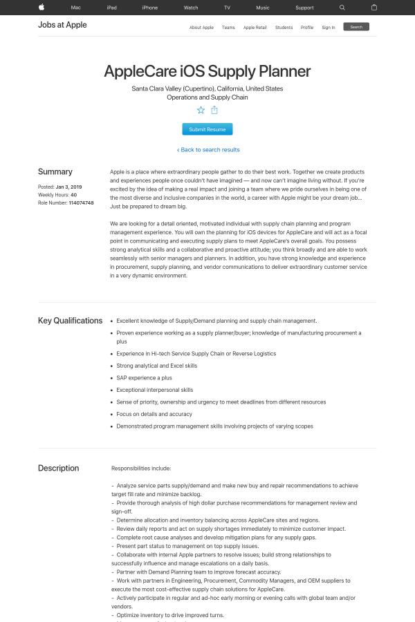 AppleCare iOS Supply Planner job at Apple in Santa Clara, CA