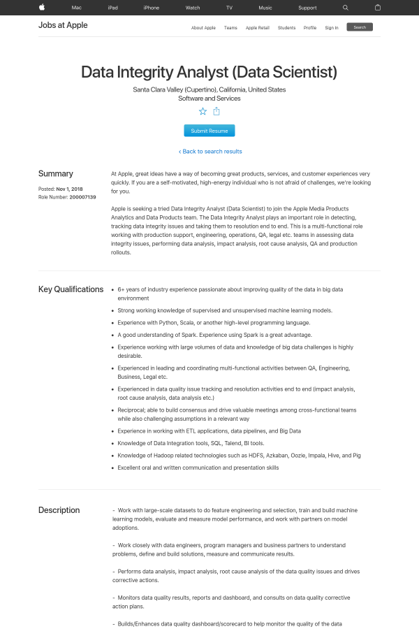 Data Integrity Analyst (Data Scientist) job at Apple in