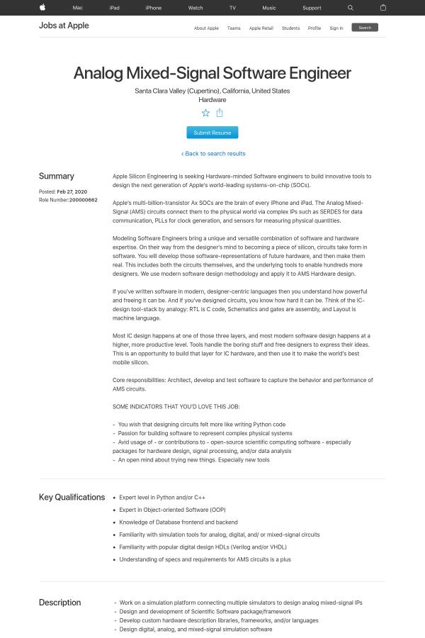 Analog Mixed Signal Software Engineer Job At Apple In Santa Clara Ca 16186442 Tapwage Job Search