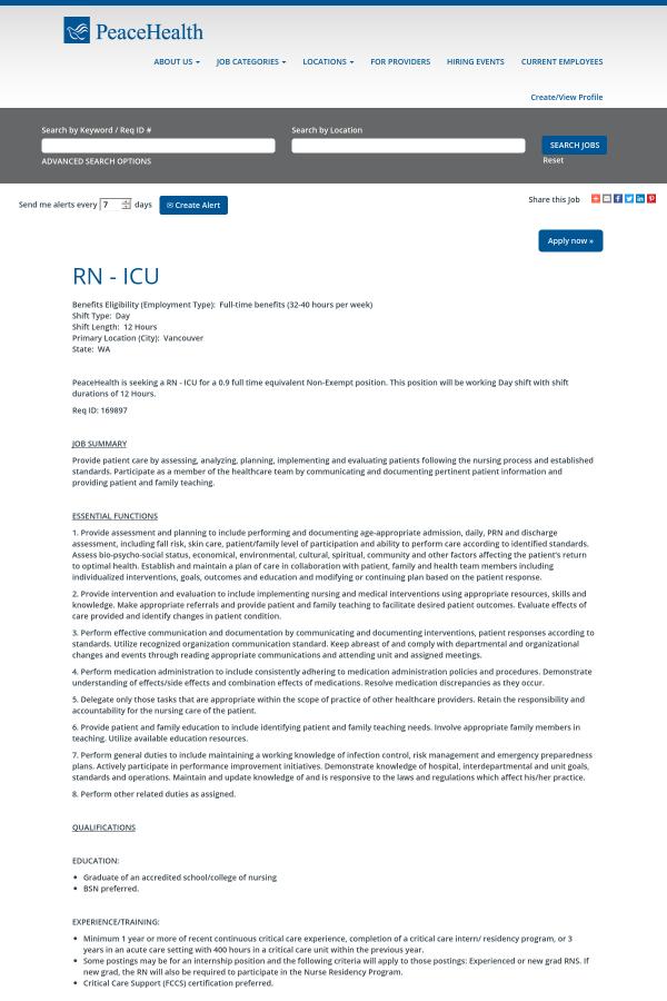 Registered Nurse Icu Job At Peacehealth In Vancouver Wa