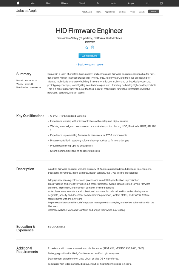 HID Firmware Engineer job at Apple in Santa Clara, CA - 16187400