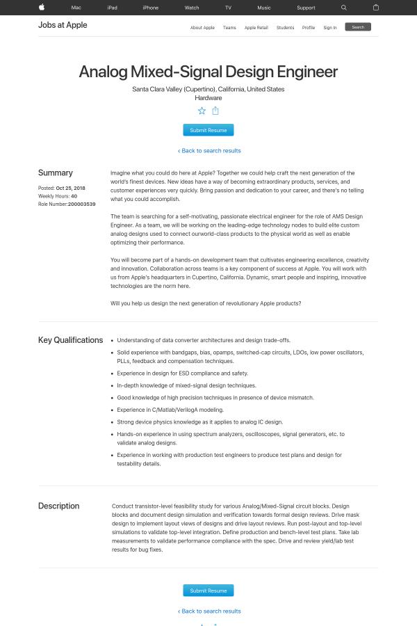 Analog Mixed Signal Design Engineer Job At Apple In Santa Clara Ca 16187917 Tapwage Job Search