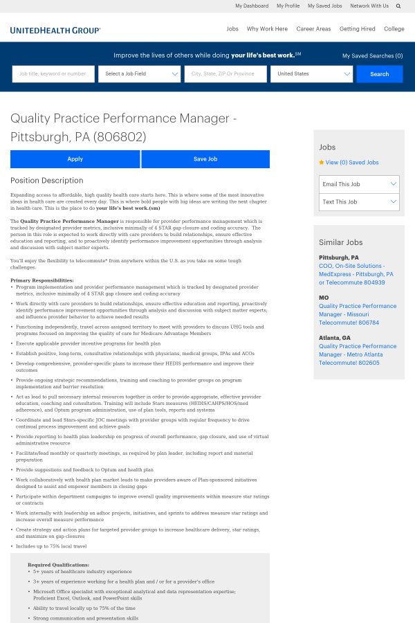 Quality Practice Performance Manager Job At Unitedhealth Group In