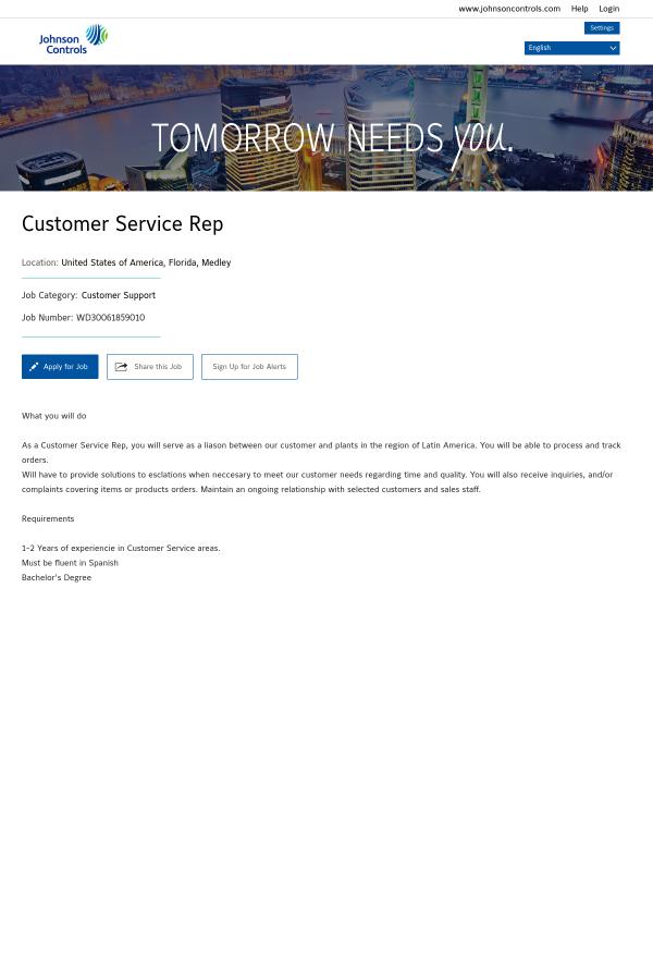 Customer Service Representative job at Johnson Controls in