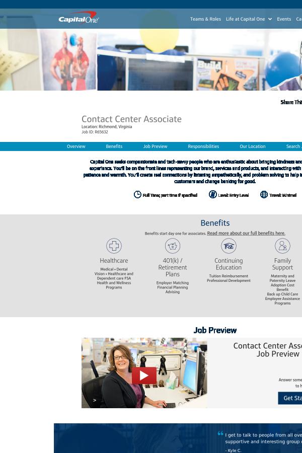 Contact Capital One >> Contact Center Associate Job At Capital One In Richmond Va
