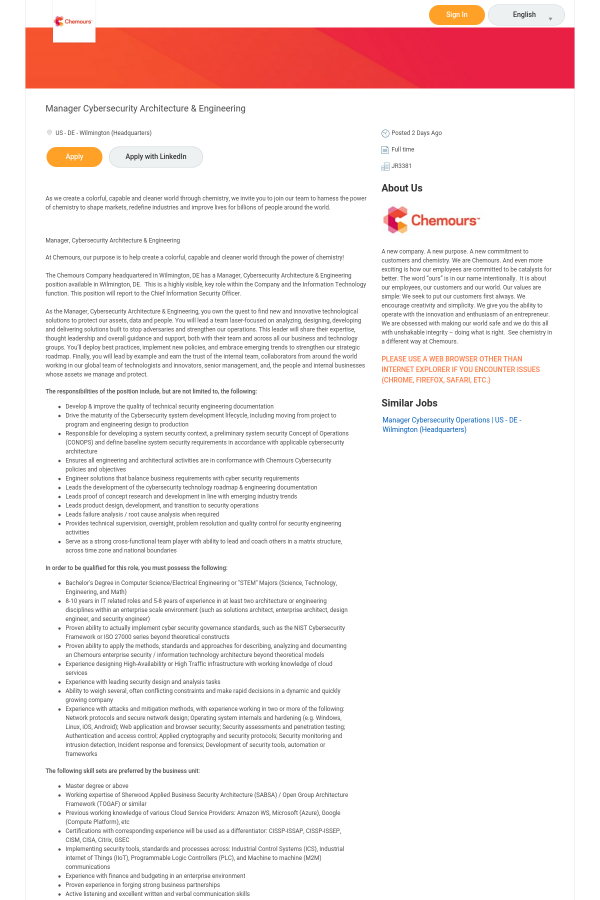 Manager Cybersecurity Architecture & Engineering job at Chemours in