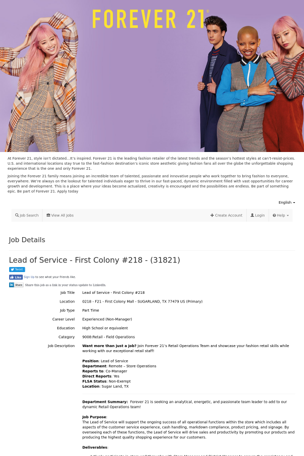Lead Of Service Job At Forever 21 In First Colony Tx 16227482