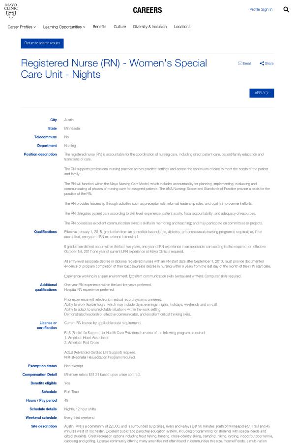 Registered Nurse (Registered Nurse) - Women's Special Care