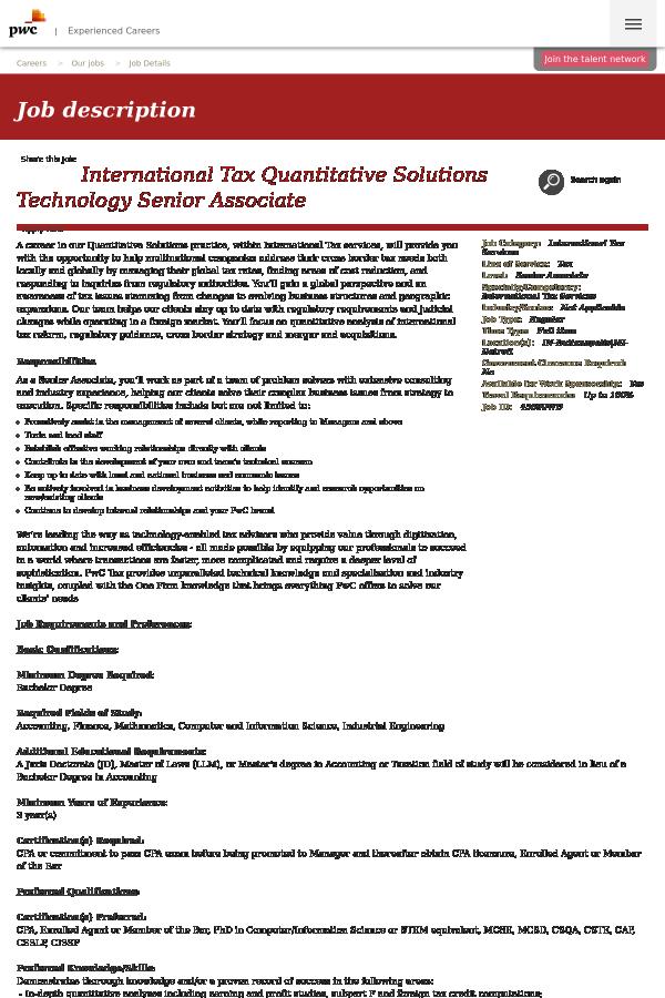 International Tax Quantitative Solutions Technology Senior