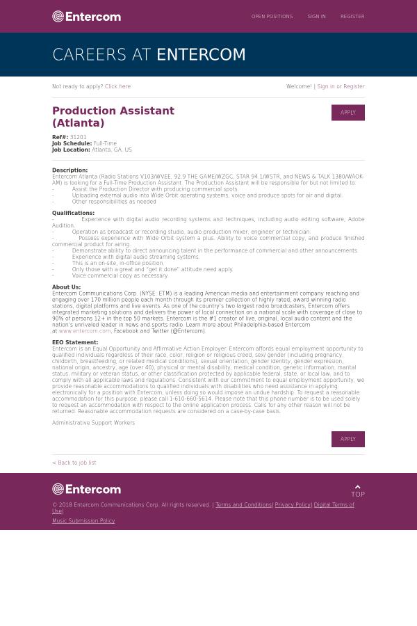 Production Assistant (Atlanta) job at Entercom in Atlanta, GA