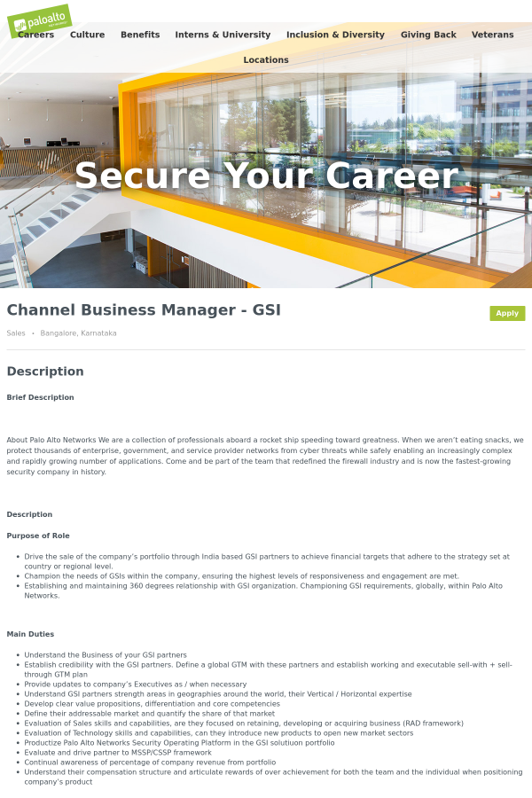 Channel Business Manager - GSI job at Palo Alto Networks in