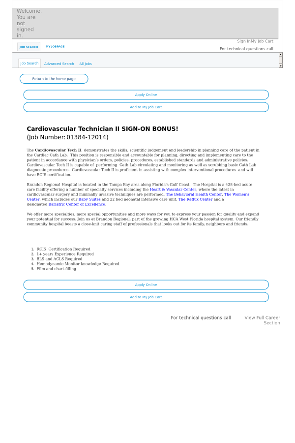 Cardiovascular Technician Ii Sign On Bonus Job At Hca Holdings Inc