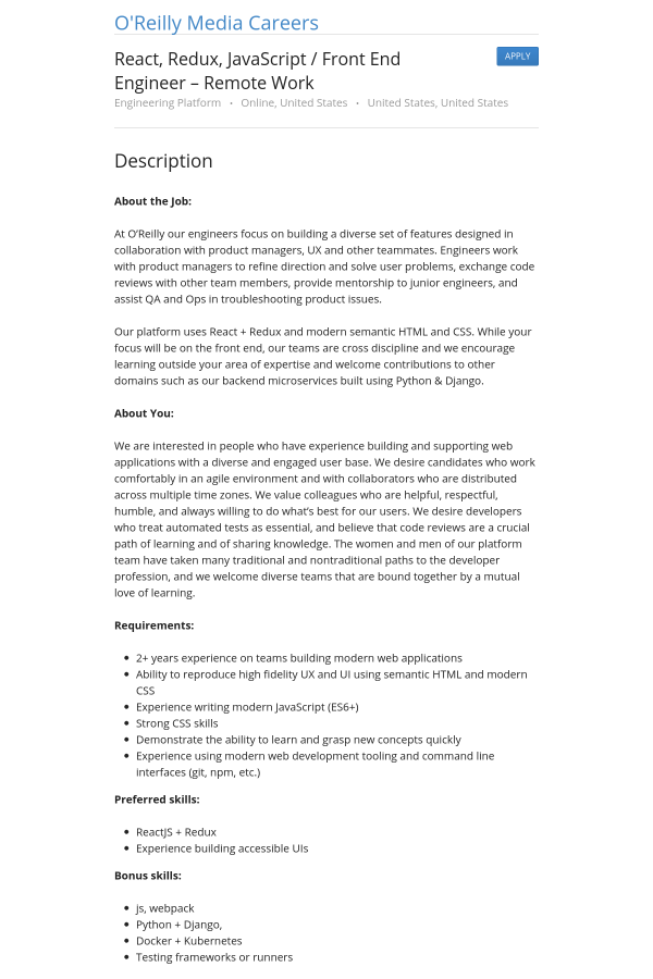 React Redux Javascript Front End Engineer Remote Work Job At O