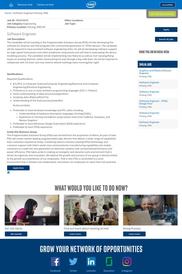 Software Engineer job at Intel in Penang, Malaysia