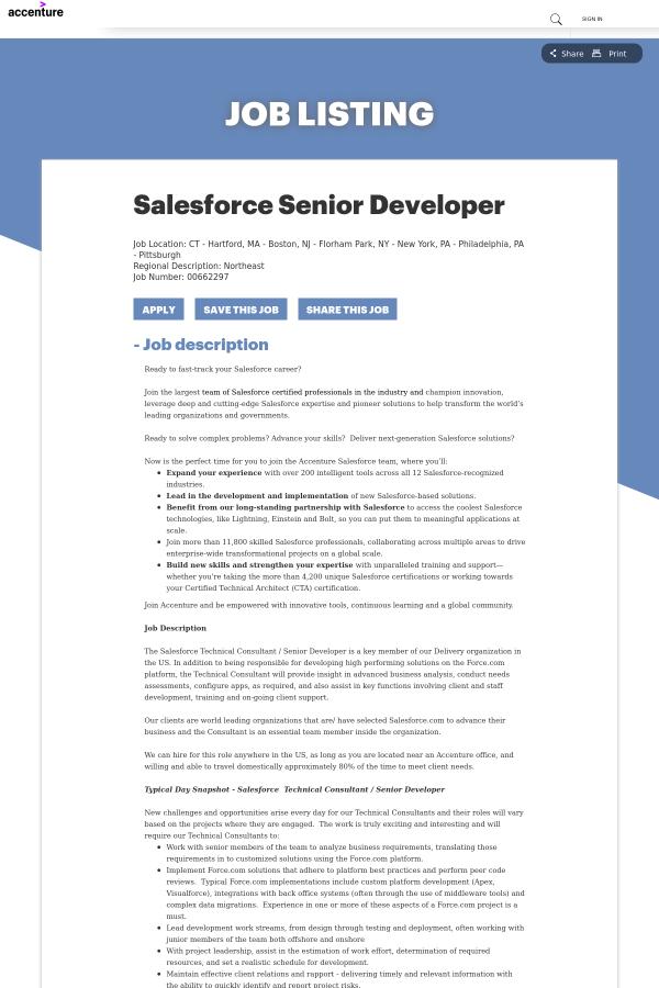 Salesforce Senior Developer job at Accenture in New York