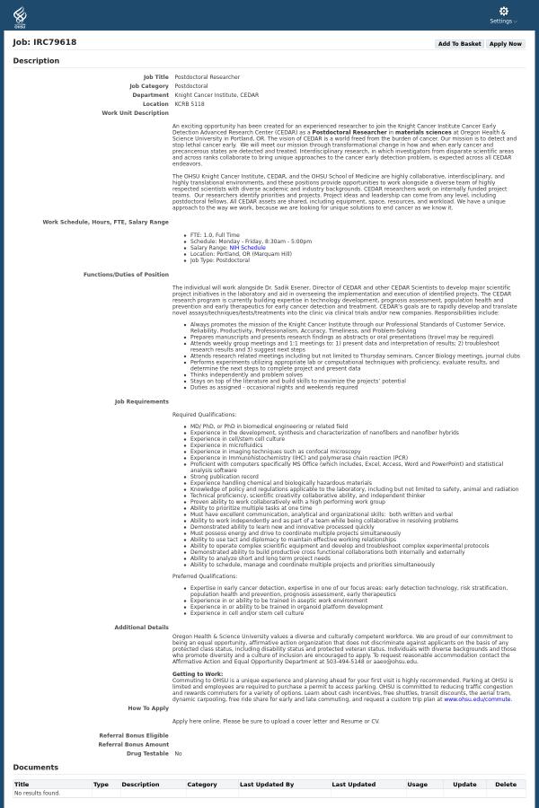 PostDoctoral Researcher job at Oregon Health & Science University in