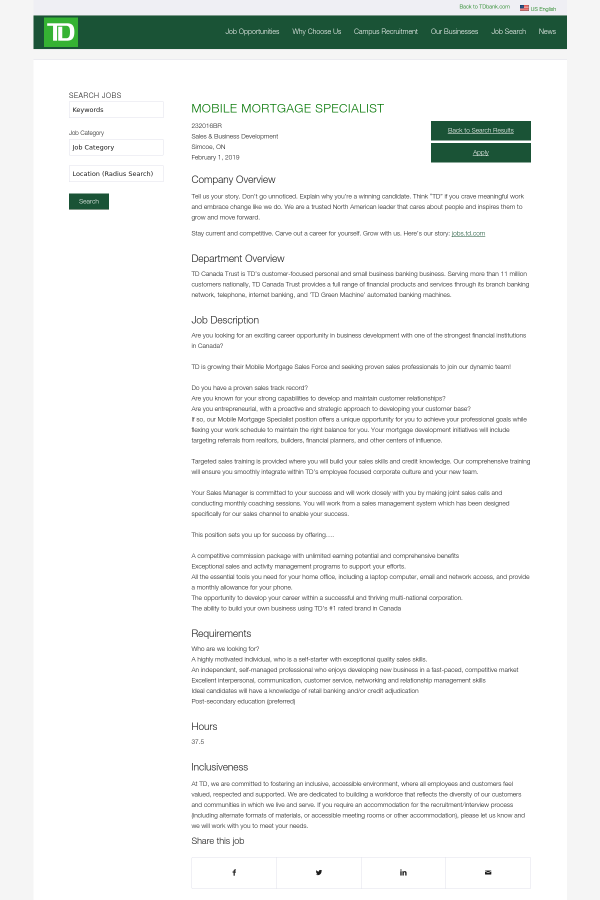 Mobile Mortgage Specialist job at TD Bank in Ontario, Canada