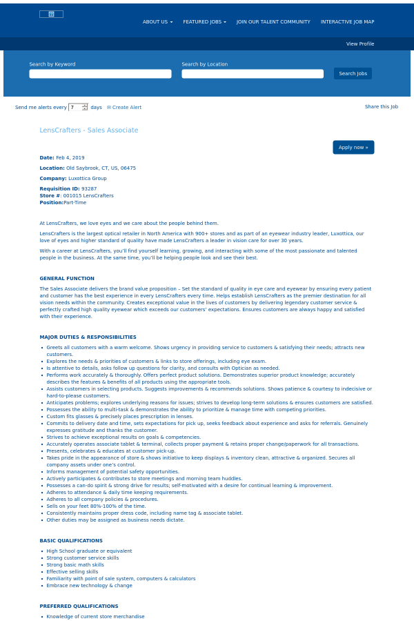 9eab1f5d7e0 LensCrafters - Sales Associate job at Oakley in Old Saybrook