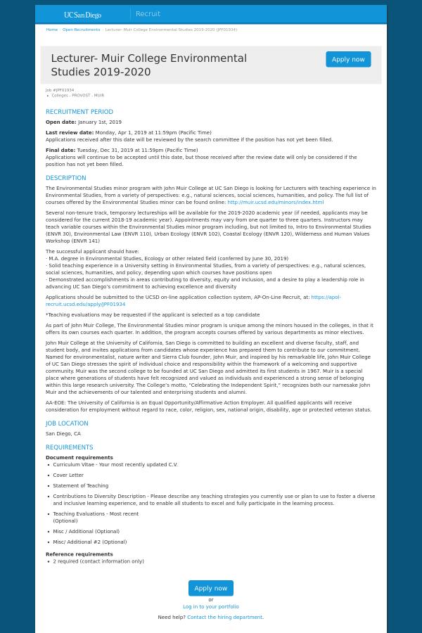 Lecturer - Muir College Environmental Studies 2019 - 2020 job at
